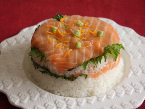 Pressed Salmon Sushi</br>サーモンの押し寿司